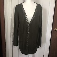 Eileen Fisher Cardigan Sweater Size XL Green Cotton Cashmere Sequin Button Front