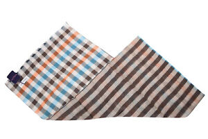 Seaward & Stearn NWT Linen / Cotton Scarf In Teal, Brown, Orange and White Plaid