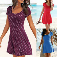 Fashion Women Casual Bohemian Short Sleeve Dot Printed Dress Party Summer Dress