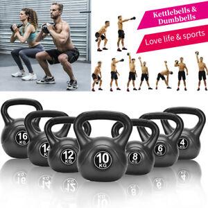4-16kg Vinyl Kettlebells & Dumbbell Weight Fitness Exercise Home Gym Training