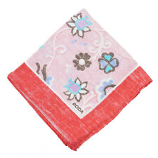 NWT RODA Pink and Blue Multi Floral Print Linen Pocket Square