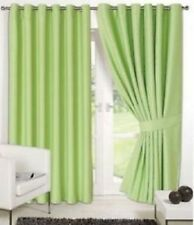 "Supersoft Thermal Faux Silk Blackout Eyelet Curtains Tiebacks Green 46"" x 72"""