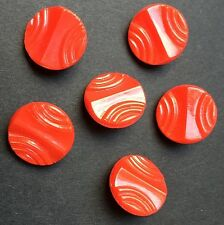 6 Vintage Deco Rich Red Glass Buttons 1.3cm wide