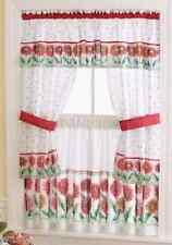 """Red Orange Daisy Flower Floral Kitchen Window Tier Valance Curtain Set 36"""" Decor"""