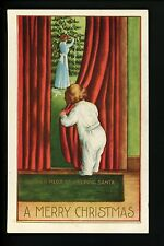 "Christmas Santa postcard ""Mother must be helping Santa"" child Seal on back"