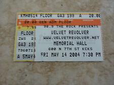 Velvet Revolver Slash Concert Ticket Stub RARE May 14 2004 Memorial Hall