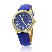 Ladies Roman Rhinestone Analog Wrist Watch Leather Strap Crystal Diamond Gift