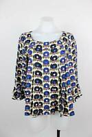 Anna Sui 100% Silk Art to Wear Geo Circle Bell Sleeve Pleated Top Size 4