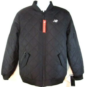 NEW BALANCE MEN'S BLACK QUILTED BOMBER JACKET, #NBMJ8231-BK