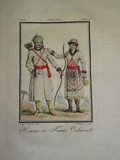 Gravure COSTUME COULEUR CALMOUCH MONGOLE ASIE CALMUQUES TARTARIE VOYAGE 1806
