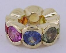 Bd084- GENUINE 9ct  Gold Natural FANCY Sapphire Rainbow Bead Real Gold Real Gems