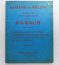 Hans Von Bulow Edition Piano Works by J S Bach Vintage Music album Bülow