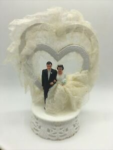 Vintage BRIDE and GROOM Wedding Cake Topper Antique c.1950-60s Caucasian Couple