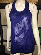 NIKE MESH OVERLAY TANK TOP SLEEVELESS WORK OUT GYM TOP PURPLE BLACK SMALL NEW