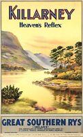 "Vintage Illustrated Travel Poster CANVAS PRINT Ireland Killarney 24""X18"""