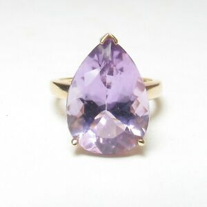 Estate 10K Yellow Gold 11.00 Ct Natural Lavender Purple Amethyst Solitaire Ring
