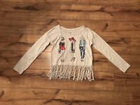 Justice Girls Gray  Long Sleeve Fringe Top ~ Size 6 ~ Super Cute ~ EUC ~ *WOW*