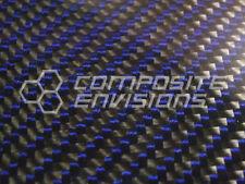 """Carbon Fiber Blue Kevlar Panel Sheet .156""""/4mm 2x2 twill - EPOXY-12"""" x 48"""""""