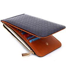 PU Leather Men's Purse Card Mobile Phone Pocket Women's Zipper Money Clip Wallet