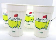 Masters PGA 1989 Packer Plastics Set of 4 Ribbed Plastic Cups White Vintage