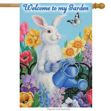 """Garden Bunny Spring House Flag Butterfly Floral Watering Can Easter 28"""" x 40"""""""