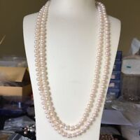 100% freshwater 7~8mm elegant pearl necklace 120cm Natural White AAAA Luster 18