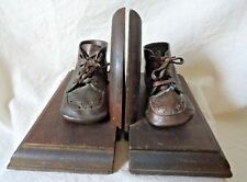 BRONZE baby shoes and Wooden BOOKENDS felt bottom
