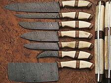 CUSTOM MADE DAMASCUS steel BLADE 7Pcs. CHEF/KITCHEN KNIVES SET