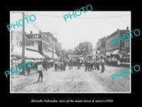 OLD LARGE HISTORIC PHOTO OF HOWELLS NEBRASKA, THE MAIN STREET & STORES c1920