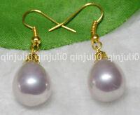 12x16mm Purple South Sea Shell Pearl Yellow Gold Plated Hook Dangle Earrings