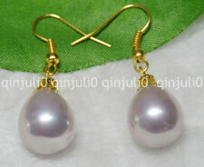 12x16mm Purple South Sea Shell Pearl Yellow Gold Plated Hook Earrings JE85