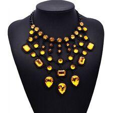 Gelb, Glassteine, Statementkette, Halskette, Collier, Modeschmuck in schwarz neu