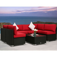 7 PC Patio Wicker Sofa Set Sectional Garden Furniture PE Rattan Lawn Poolside