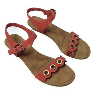 Koolaburra UGG Women's Leira Sandals Pink Leather Cork Wedge Ankle Strap Sz 8