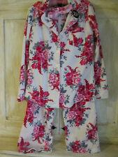 Laura Ashley-Pink / White Rose Floral Fleece pajama set-S-polyester-Orig $58-New