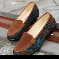 Women Big Size Floral Print Slip On Flat Loafers Embroidery Cotton Shoe