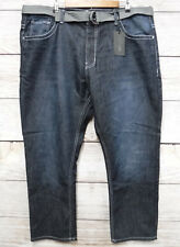 Steve's Jeans Mens Size 42X32 Straight Fit Belted Cooper Wash Blue Jeans New