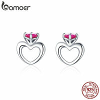 BAMOER hot Women S925 Sterling Silver Stud earrings AAA  Zircon Promise Jewelry