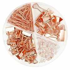 97 Pcs Office Supplies For Women Paper Clips Binder Clips And Push Rose Gold