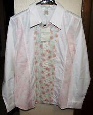 Christopher & Banks Women's Stretch Blouse - Size M-  Long Sleeve Pink Floral