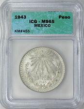 Mexico 1943 Silver Peso ICG MS65 - Beautiful Gem BU