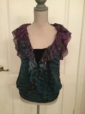 DVF Wrap Blue Floral Top Silk Sleeves Size 4