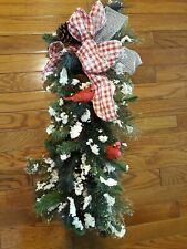 New Primitive Christmas SNOW PINE RED CARDINAL TEARDROP Wreath Door Swag