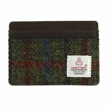 Harris Tweed Card Holder with Leather Trim Green Check NEW  25119