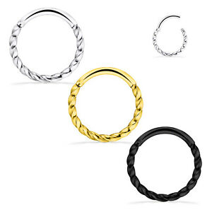 2-6PCS Hinged Rings Clicker Sleepers Braid Nose Lip Cartilage Tragus Piercing