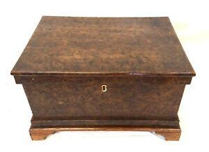 Antique Pollard Oak Workbox Jewellery Sewing Trinket Box Fitted Interior