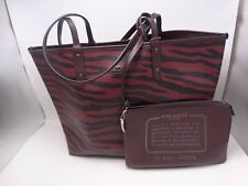 Reversible Coach City Tote-Tiger Print/Solid Removable Pouch New With Tag