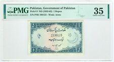 PAKISTAN 1 RUPEE NOTE 1953-63 PICK 9 MUHAMMAD AYUB PMG 35 VF