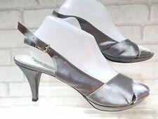 Jeu dames jane shilton silver satin bout ouvert bride arrière chaussures uk 8 euro 41