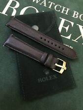 19mm Soft Leather Band and Rolex Gold Plated Buckle & Rolex Suede Pouch